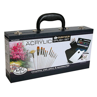 31 Piece Artist Acrylic Painting Complete Box Set 12 Tubes Brushes Tools Acr2000