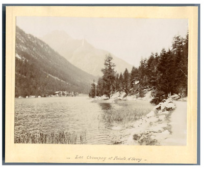 Suisse, Lac Champex et Pointe d'Orny  Vintage citrate print. Tirage citrate