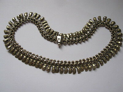 """STUNNING ANTIQUE VICTORIAN GOLD WASH SOLID SILVER CHOKER NECKLACE 15 3/4"""""""