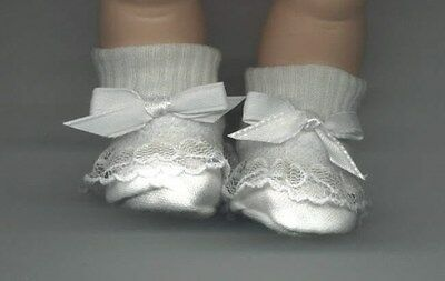 White BOOTIES  to fit 10-12 inch dolls Vinyl bodied dolls Tiny Tears Betsy Wet