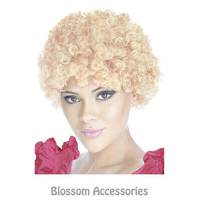 AS123 Kath & Kim Blonde Afro Wig Costume 70s Fancy Dress Party