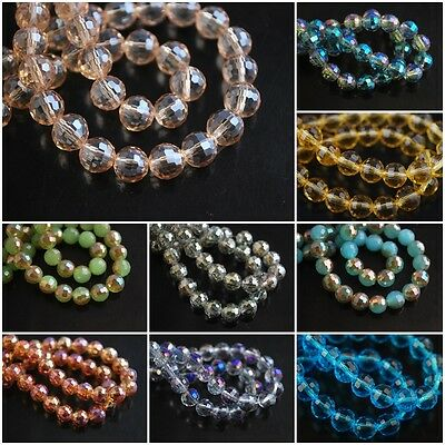Mixed Colors Round 96Faceted Glass Crystal Spacer Beads Jewelry Findings 8mm