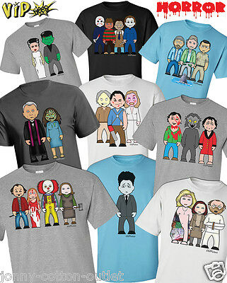 VIPwees Mens T-Shirt Horror Movie Inspired Caricatures Choose Your Design