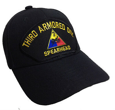 Third 3rd Armored Division Hat Black Ball Cap US Army Spearhead Military Version