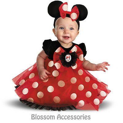 CK182 Disney Red Minnie Mouse Dress Toddler Infant Dress Up Halloween Costume