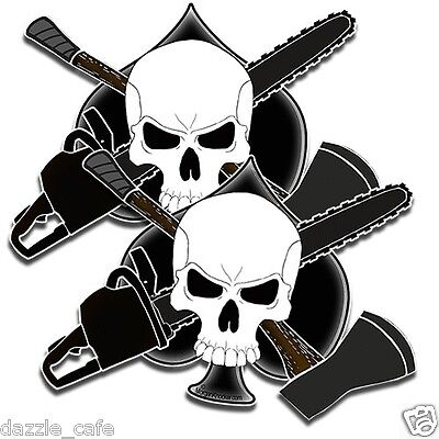 """Loggers Crossbones 2 Decal stickers arborist forestry CHAINSAW tree AXE skull 5"""""""