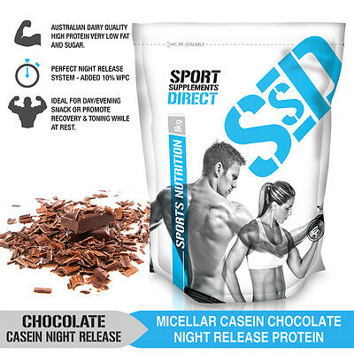 1Kg Chocolate Micellar Casein Protein Powder - Night Release - Added Wpc 1 X 1Kg
