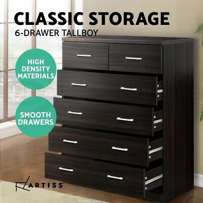 Tallboy Dresser 6 Chest of Drawers Table Cabinet Bedroom Storage Walnut Wood