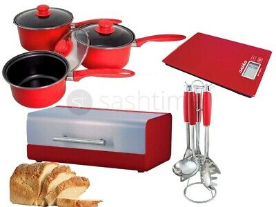 Red Kitchen 5Pc Utensil Set / 3Pc Cookware Set /  S/s Bread Bin / Digital Scale