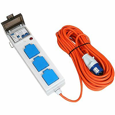 Mobile Mains Hook Up 3 Sockets 230v RCD Camping Plug Protected Lead Cable