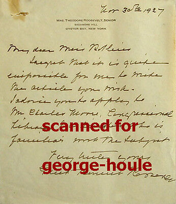 Edith Kermit Roosevelt - Autograph Letter - 1927 - Signed - Theodore Roosevelt