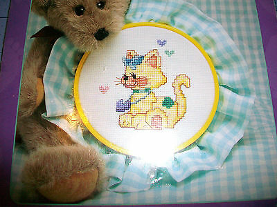 Baby Steps Calico Kitten Cross Stitch Kit - Includes Gingham Fabric