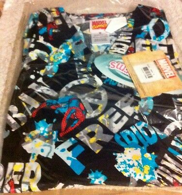 CHILD Scrub Set Pant & Top Spiderman on black bg Cherokee Tooniforms