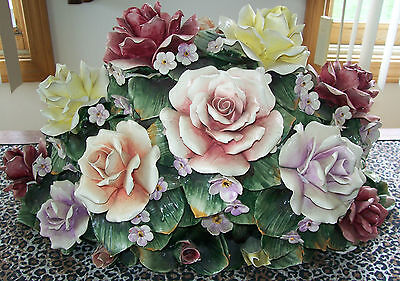 HUGE Vintage Capo Di Monte Capodimonte Floral Rose Bouquet Ctr Piece NO SHIPPING