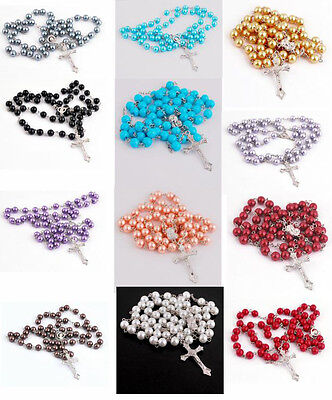 Holy Long Rosary Beads Cross Jesus In Silver Cross Tone Necklace For Women Men