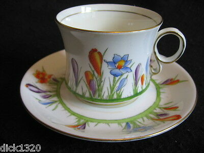 ART DECO CARLTON WARE HAND-PAINTED CHINA CROCUS #4526 CUP & SAUCER DUO 30's A/F1