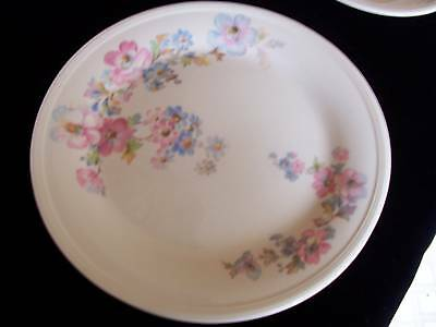 """9 1/4"""" LUNCHEON PLATE KNO 12 EDWIN KNOWLES PINK BLUE FLOWERS"""