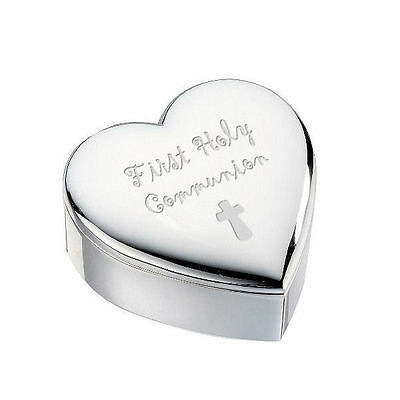 1st First Holy Communion with Cross Silver Finish Heart Shaped Trinket Box Gift