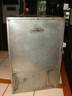 Old metal pie tin safe or store canister, unpainted