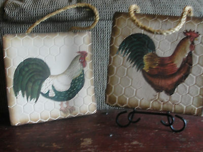 Pair of chicken, rooster, stone wall hangings