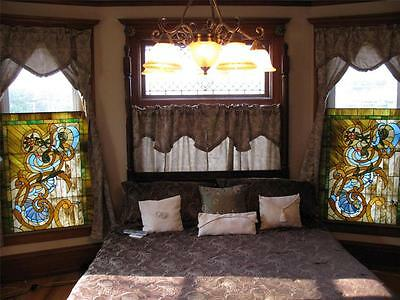 Pair of Antique Tiffany style Stained Glass Victorian Windows