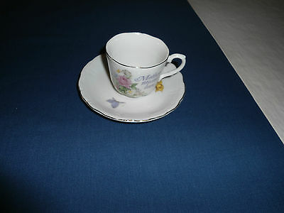 VTG.PORCELAIN SMALL CUP & SAUCER,NAPCOWARE,JAPAN,FOR MOTHER,GOOD USED COND'T