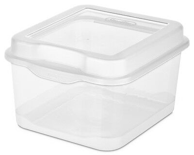 Single Sterilite 18038612 Plastic FlipTop Latching Storage Box Container Clear