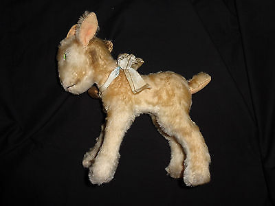 Vintage Steiff ZICKY Mohair Baby Mountain Goat Germany w Bell Ribbon NICE