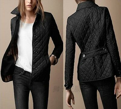 Womens Black Collar Quilted Cotton Jacket Slim British Style Casual Thick Coat