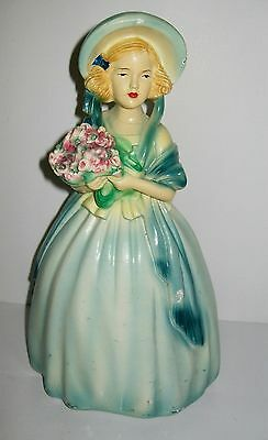 Vintage chalkware figurine 19th C. Lady Woman with Bouquet of Flowers