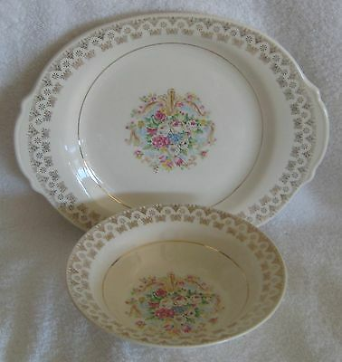 RARE Leigh Ware Pottery Old Mirror Serving Bowl and Platter 22K Gold Trim