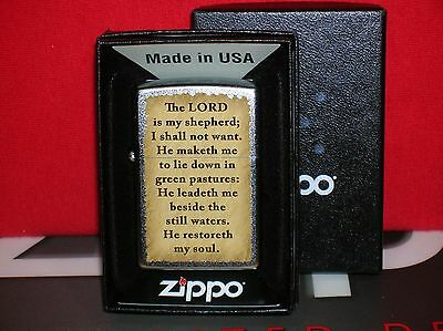 """Zippo New """"the Lord Is My Shepherd"""" Lighter-Mint-Seal Intact- We Ship Fast!"""