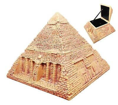 "Ancient Egyptian Gods Sandstone Pyramid Jewelry Box Hinged Chest Figurine 7""L"