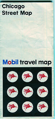 1967 Mobil Chicago Vintage Road Map