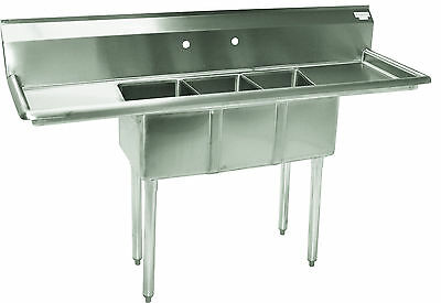 New Commercial Stainless Steel (3) Three Compartment Sink- 66 x 22