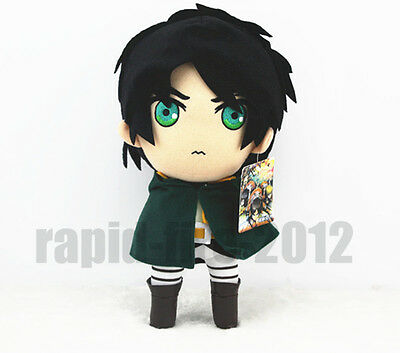"2014 New Attack On Titan Eren Jaeger Green Eyes Soft Plush Doll 12""Cute"