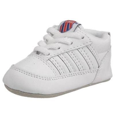 K-Swiss Crib 5 Stripe Classic Baby First Shoes Trainers Sneakers Unisex White