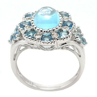 De Buman Two-tone Sterling Silver 7.20ctw Square Swiss Blue Topaz Ring Size 7