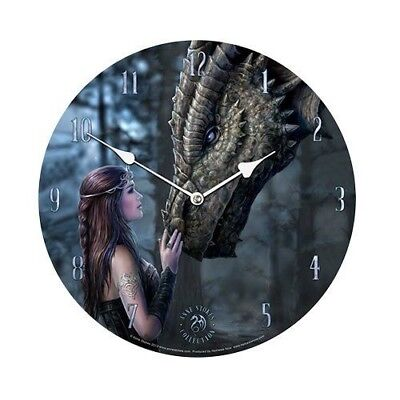 """ANNE STOKES ONCE UPON A TIME DRAGON AND DAMSEL PLATE WALL CLOCK 13.5"""" DIAMETER"""