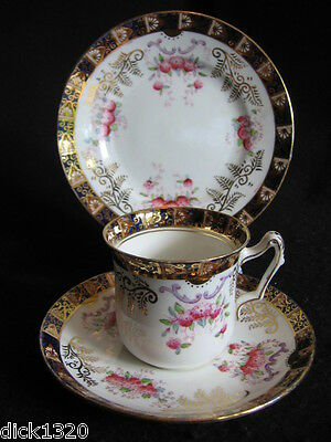 Ed' DUCHESS E & B.L HAND-PAINTED CHINA CUP/SAUCER/PLATE TRIO #1790 c.1900's EX
