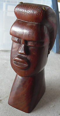 Antique Hand Carved Wood Ethnic Man Head Bust Head Statue LOOK