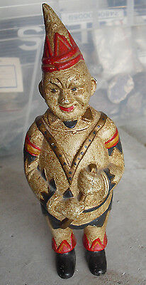 """Vintage Heavy Cast Iron Standing Clown Character Bank 8"""" Tall"""