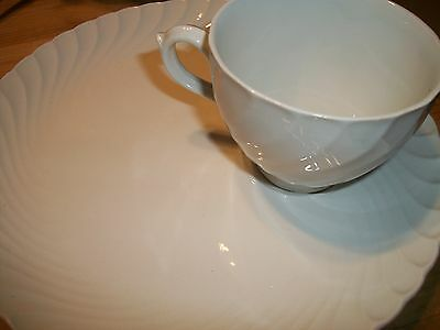 Burgess Leigh Burleigh Queen's White Plate and Cup English Ironstone snack set