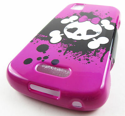 PINK CUTE SKULLS HARD SHELL SNAP-ON CASE COVER MOTOROLA XPRT MB612 ACCESSORY