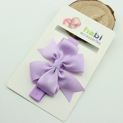 NEW Baby Bow Baby Girls Lilac Grosgrain Bow Headband fits 34-50cm circumference