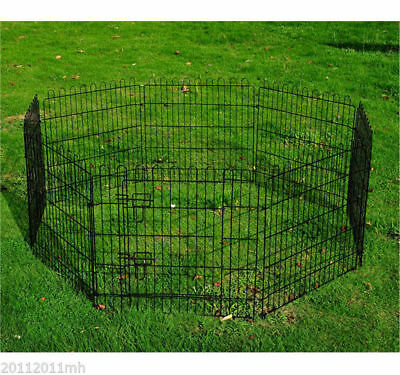 8 Panel Metal Pet Playpen Dog Puppy Cat Rabbit Exercise Fence Yard Kennel Black