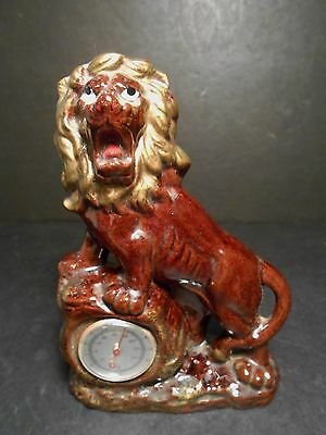 vintage Lion Figurine w/ Thermometer Made of Redware Great Old Lion Made n Japan