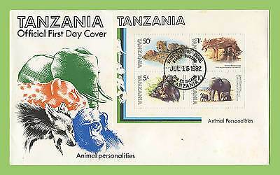 Tanzania 1982 Animal Personalities miniature sheet  First Day Cover