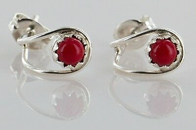 Delicate-$70 Tag-AUTHENTIC K. McCray Navajo .925 Coral Stud Earrings 1051