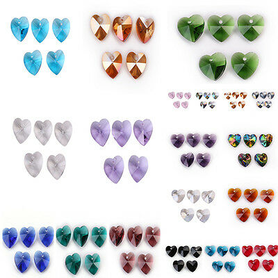 Faceted Glass Crystal Heart-Shaped Beads Loose Spacer Craft Jewelry Finding 14mm